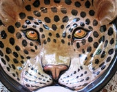 Vintage Italian Glazed Terra Cotta Leopard Head