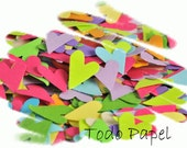 Primitive heart confetti 200 ct. Paper punches rainbow colores   favor fillers pink lime blue lilac and more