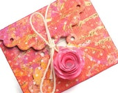 3 scalloped envelopes with ruled flat note mini cards . journaling pockets . handmade paper rose enclosure . Assorted colors
