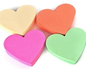 Heart die cuts pastel colors. Coral, mint, beige, raspberry 2.75 inch 40 pc. Valentines gifts. Pastel paper hearts