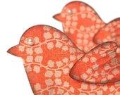 2 Tangerine Bird scrapbook embellishments. Textured designer paper. 3D