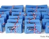 50 Cobalt blue Admit One tickets numbered cinema tickets, movie theatre tickets carnival scrapbook idea