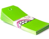 Lime green tags . extra large . 25 set . manila tag . label . escort card . embellishment . organization . packaging . gift wrap