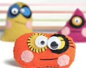 Felt monsters . 3 cute mini monster dolls . toy . children's gift . party favors . kids . charm . cute . fun . cuddly toy . tiny . miniature
