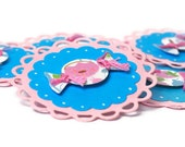 Candy scrapbook embellishments . 6 set . Pink and blue scalloped circles . 3D . candy . 2 inches . card making . paper crafts .