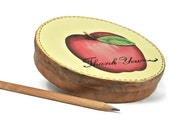 Teacher's gifts. Apple Thank You decorated trinket box. Round paper mache safekeeping box