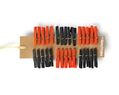 30 Halloween colored mini clothespins in orange and black. 1 inch miniature clip fun idea