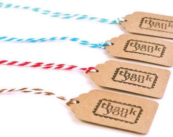 READY TO SHIP | 25 Thank you mini tags. Small Kraft brown tags with bakers twine