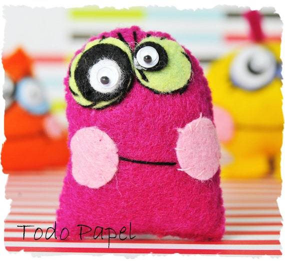 20 % OFF - 3 Cute Monster toys for Children / toddlers. Raspberry, yellow, orange. Stocking stuffers - Black Friday Etsy / Cyber Monday Etsy