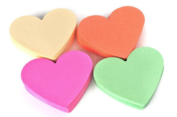 Heart die cuts . paper punches .  coral . mint . beige . raspberry . 2.5 inch . large . scrapbooking . tags . 40 set .