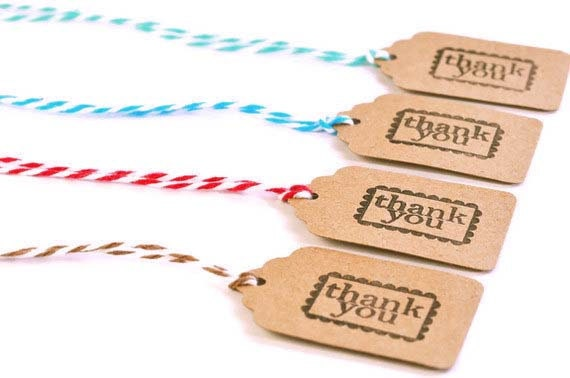 READY TO SHIP | 25 Thank you mini tags. Small Kraft brown tags with bakers twine. Gift embellishment tags Thanks Thank you favor Gift tags