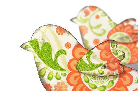 Bird scrapbook embellishments . love birds . tangerine and green . textured designer paper . 3D .  floral . freedom