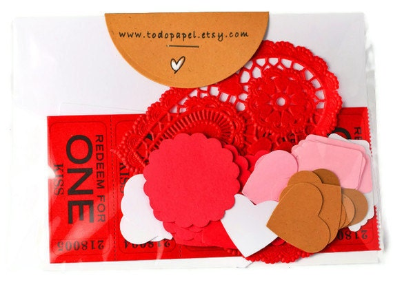 Scrapbooking kit . gift wrap kit . 46 piece . tags . heart doily . die cuts . love tickets . gift wrap . lace . red . romantic . pink