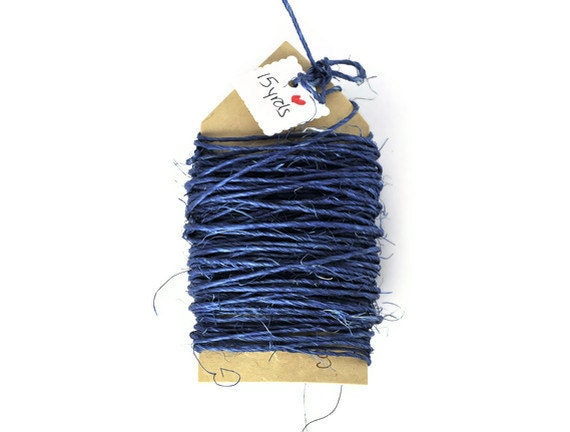 Sisal cord . royal blue . navy .15 yards . string . rope . 1mm . thin. natural . deep blue . ocean blue . twine . wrapping cord . rustic