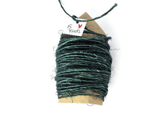 Emerald green rough sisal cord . natural . 15 yards . string . rope. trim . yarn . natural fibers . rustic . primitive