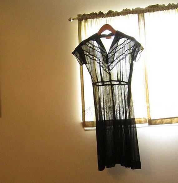 Sale Translucent 1940s Gorgeous Black Lace Dress