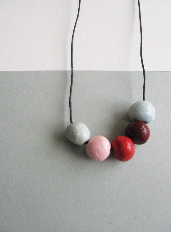 "Geometric round beads necklace- handmade beads necklace- colorful necklace"" Naturalis""-Round clay B"