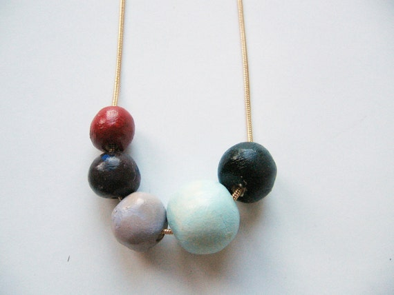 """Geometric round beads necklace- handmade beads necklace- colorful necklace"""" Naturalis"""""""