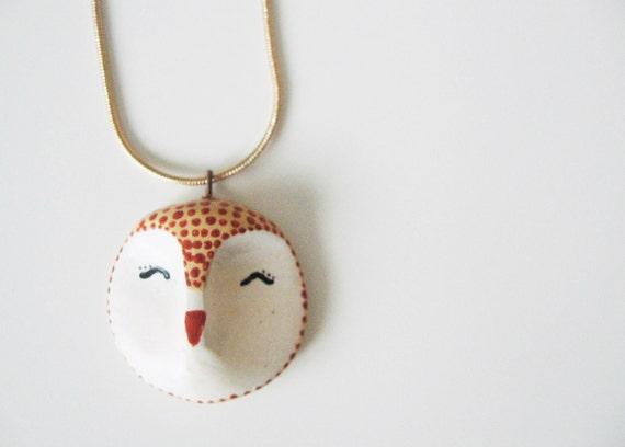 Owl head pendant- animal totem- sleeping owl- cute pet