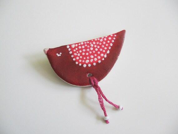 Red bird brooch- polymer clay brooch- sleeping bird- dark red and pink pattern