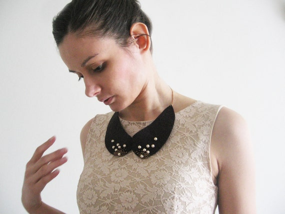 Felted wool and pearls Peter Pan collar romantic by ...