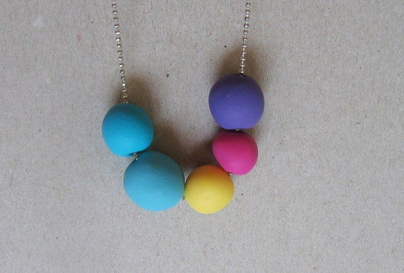 "Bright rainbow polymer clay necklace - geometric beads necklace-  "" Round and round"""