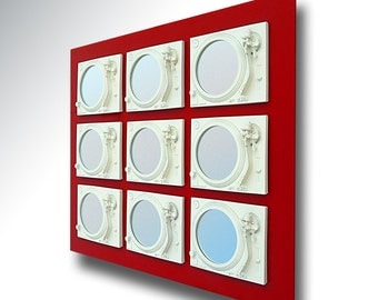 Seduce - Technics Turntable Inspired Mirror Sculpture - White & Red  - Original Contemporary British Art