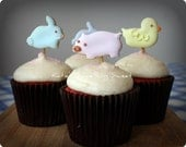 Farm Animal Cupcake Toppers - Cookie Pops - Edible Cupcake Decorations