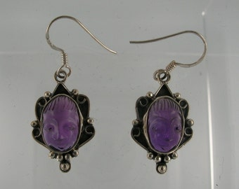 Carved Amethyst and Sterling Silver Earring