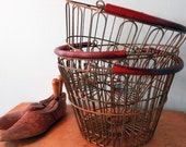 Vintage Round Wire Basket with Red Handle