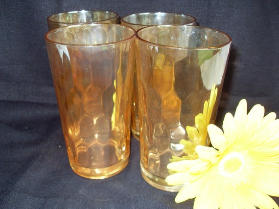 Peach Carnival Glasses with Honeycomb Pattern