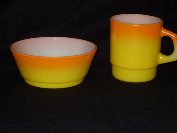 Fire King Two Tone Mug and Bowl