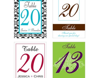 1-30 Table Numbers Wine Bottle Labels - many designs to choose from -  change design to any color, size, etc