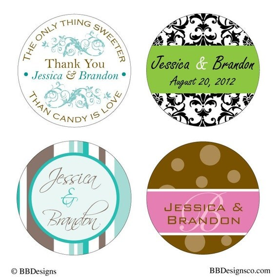 220 Custom Glossy Waterproof Wedding Stickers Labels 2 inch - hundreds of designs to choose from - any size/ shape and clear available