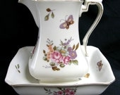 Vintage Lefton Pitcher and Bowl Set Flowers & Butterfly
