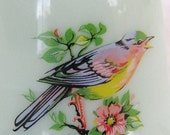 Vintage Milk Glass Bell Green Milk Glass with Three Birds