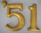 1890's Gold Wooden Numbers '51 Wood Industrial Number Salvage Sign ON SALE REDUCED Treasury Item from The Back Part of the Basement