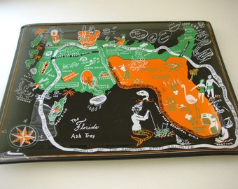 Florida Souvenir Tray Smoke Glass Kitschy Art-Treasury Item from The Back part of the Basement