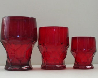 2 Oz Ruby Red Georgian Tumblers Set of 3- Ruby Glass 2 oz. Whiskey Juice Glass with Polished Bases RaRE Shot Glass Size