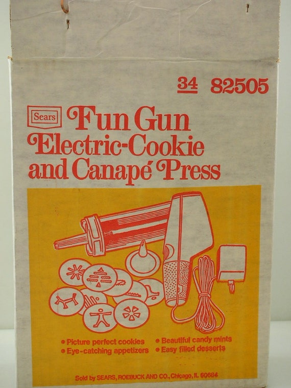 1960s sears electric fun gun cookie and canape press original box with recipe book from - Sears Wedding Rings