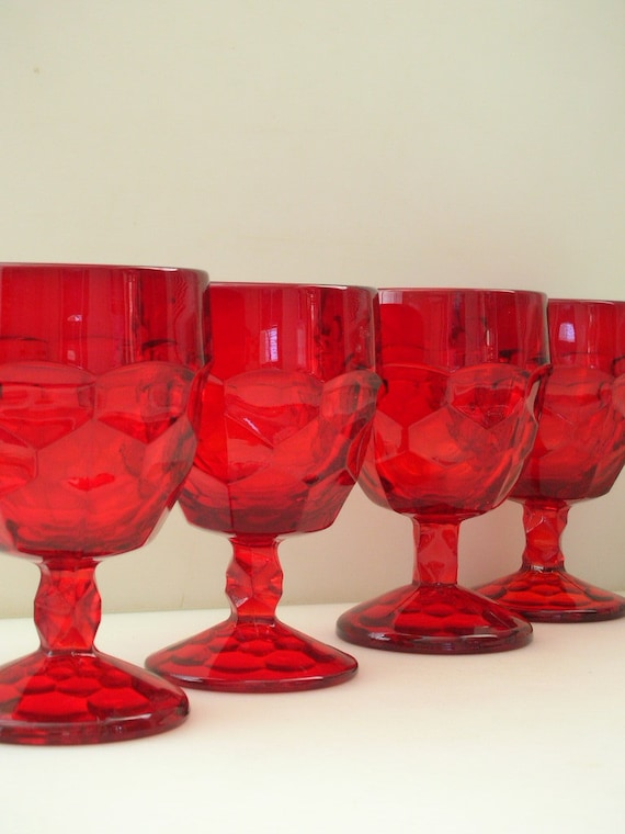Rare Georgian Red Glass Water Goblets Set Of 4 Ruby Red