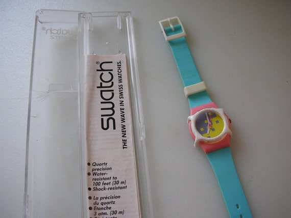 Reserve Cindy Until 11/01 Swatch Watch Blue Cassata in Original Box and Instructions NEW Battery Works from The Back Part of the Basement