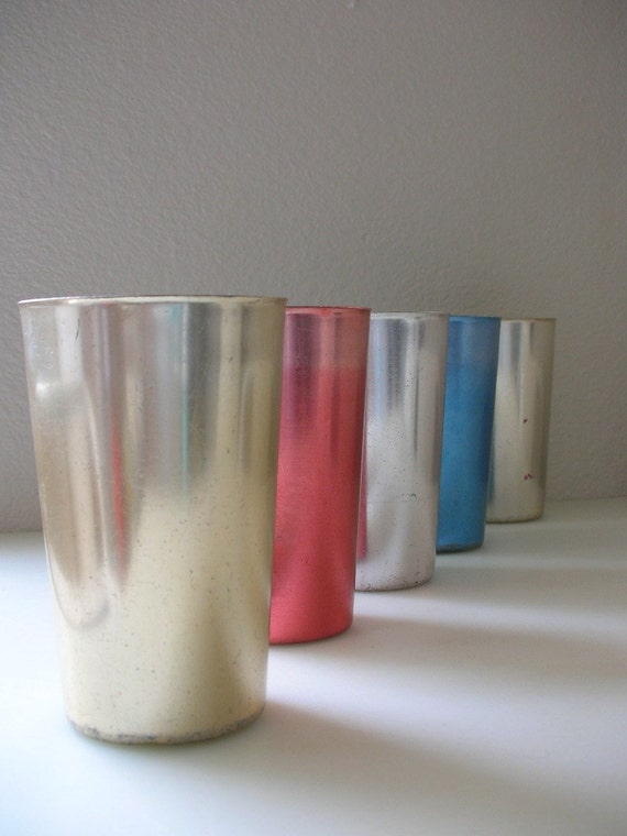 Mid Century Aluminum Tumblers Set of 5 Bascal Metal Cups Treasury Item from The Back Part of the Basement