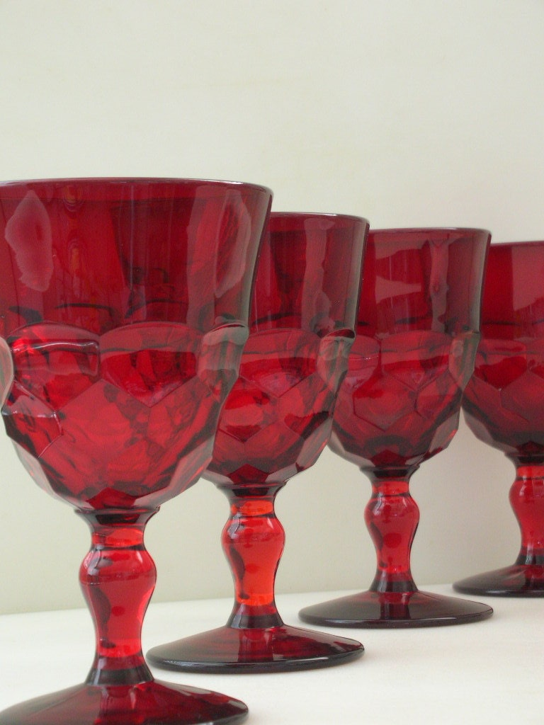 Reserve KATIE Ruby Red Glasses Set of 10 RARE Georgian Red