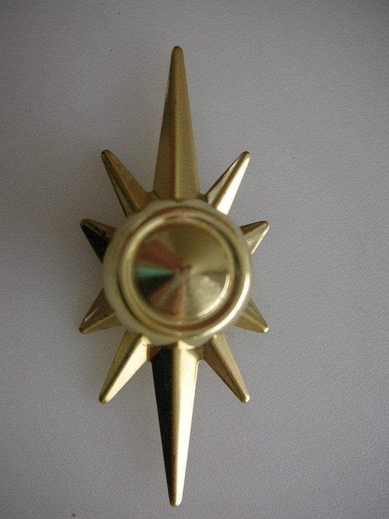 1960s Atomic Starburst Hardware Brass Drawer Pull Knob With