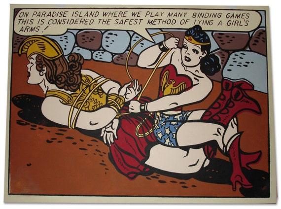 vintage Wonder Woman bondage Pop Comic Art Painting