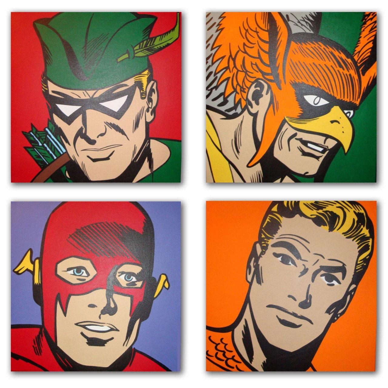 Art Of Comics And Manga: Vintage Justice League Pop Art Comic Paintings
