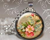 Floral Rose Silver Magnetic Necklace with Insert Topper and Sterling Silver Ball Chain