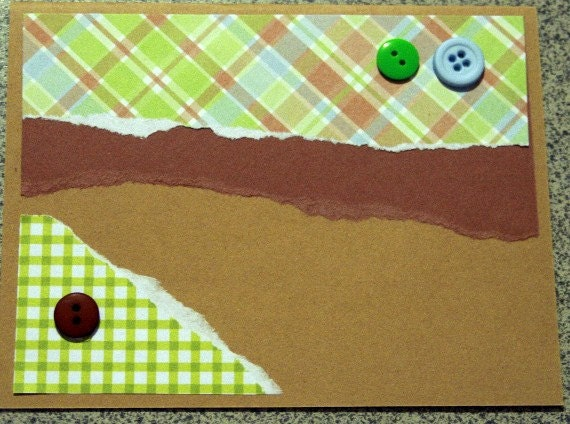Card in Masculine Green and Brown Plaid 20120097