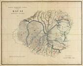 1903 KAUAI, Hawaii Islands, MAP, Quality Print, U.S. History, Antique decor (many sizes)